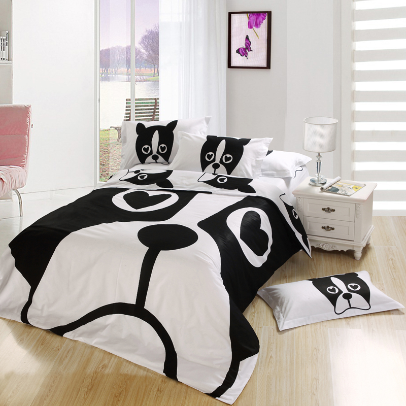 Black And White Dog Print Kids Cartoon Bedding Comforter Bedroom Sets King Fo