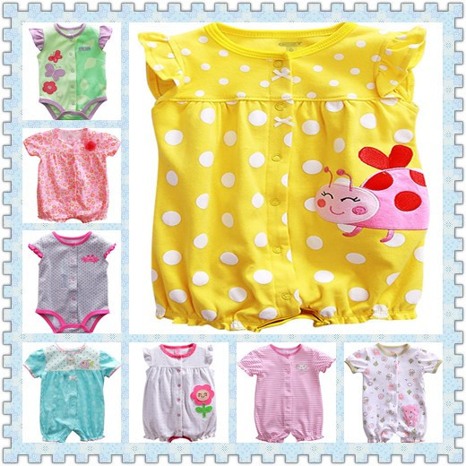 new summer baby clothes baby girl short sleeves bodysuit baby boy jumpsuit(China (Mainland))