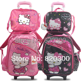 2014 Hello Kitty Kids Cartoon Trolley School Bags 2 1 SET primary student girls bag wheels Luggage - caiyunwang Mr's store