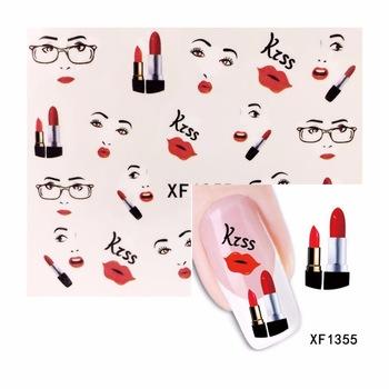 YZWLE 1 Sheet Lip Fashion Women Designs Nail Art Water Decal Sticker Fashion Tips Decoration 1355
