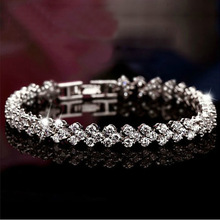 Summer Style Fashion 925 Sterling Silver Roman Chain bracelets & bangles. Shiny CZ diamond Heart shape charm bracelets for women(China (Mainland))
