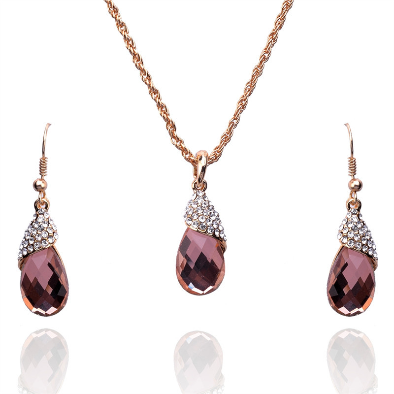 Water Drop Shaped Crystal Sets Of Chain Austrian Crystal 14K Gold Plated Jewelry Sets For Women Fashion Jewelry Free Shipping(China (Mainland))
