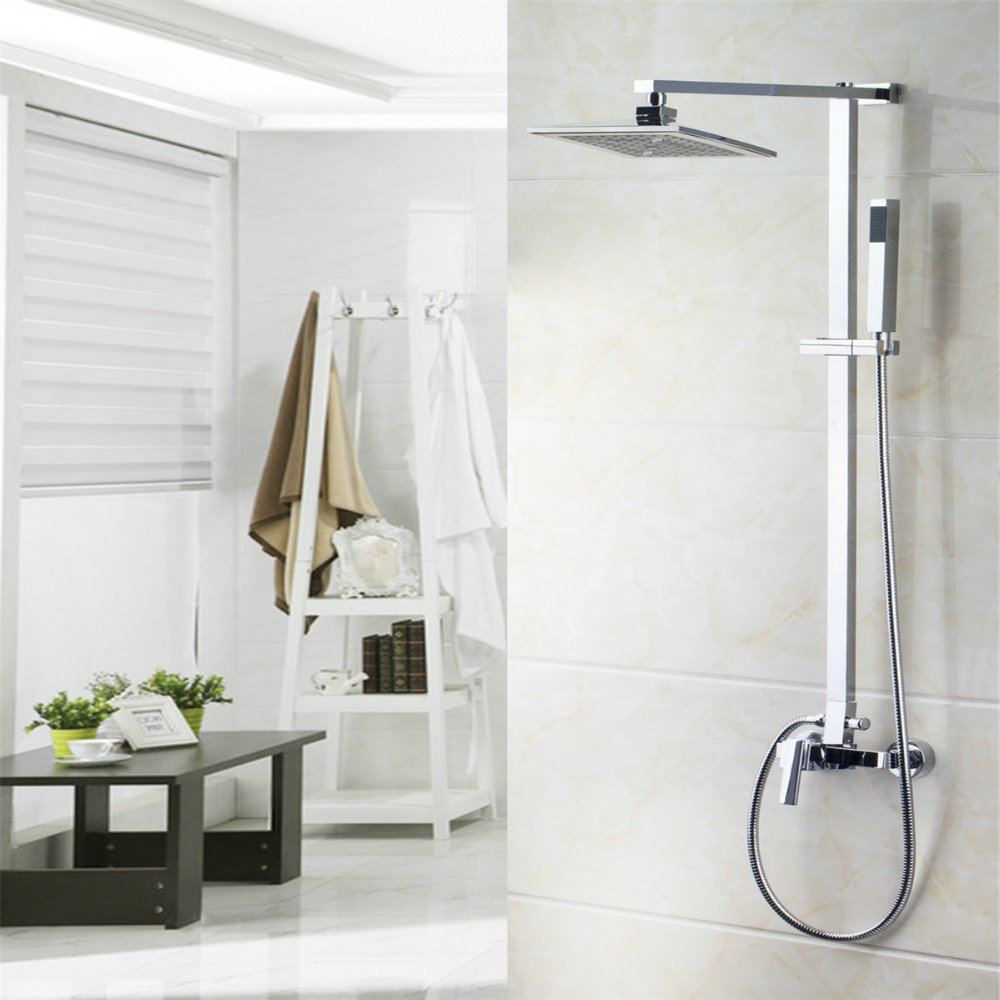 US Bathroom Chrome Rain Shower Head Arm Set Faucet +Handy Unit Tap Wear Water Saving Nozzle Aerator High Pressure Shower Set Tap(China (Mainland))
