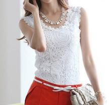 Blusas Femininas 2016 Summer Women Blouse Lace Vintage Sleeveless White Renda Crochet Casual Shirts Tops Plus Size S M L XL XXL(China (Mainland))