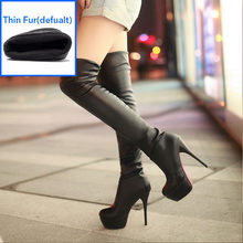 WETKISS Plus Size 34-46 Thu Đông Nền Tảng Giày Mũi Tròn 13cm Mỏng Cao cấp Trên Đầu Gối giày Đùi Cao Cấp Giày Boot Nữ 2020(China)