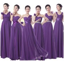 Royal purple damigella d'onore convenzionale lungo chiffon viola scuro damigella d'onore melanzana party dress vestido de festa de casamento(China (Mainland))