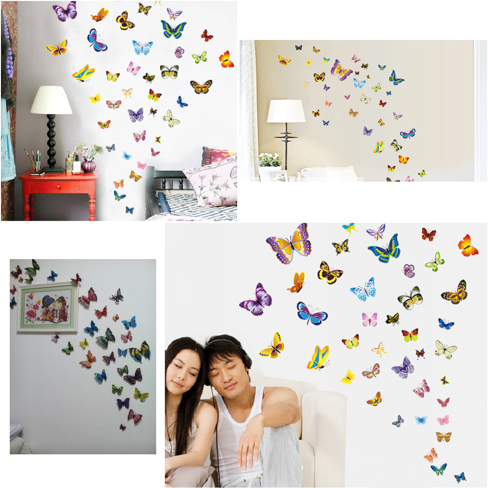 38PCS Package 3d Butterfly Wall Decor Art Stickers Home Accessories Bedroom Decor 3D Living Room Decoration Adesivo De Parede(China (Mainland))