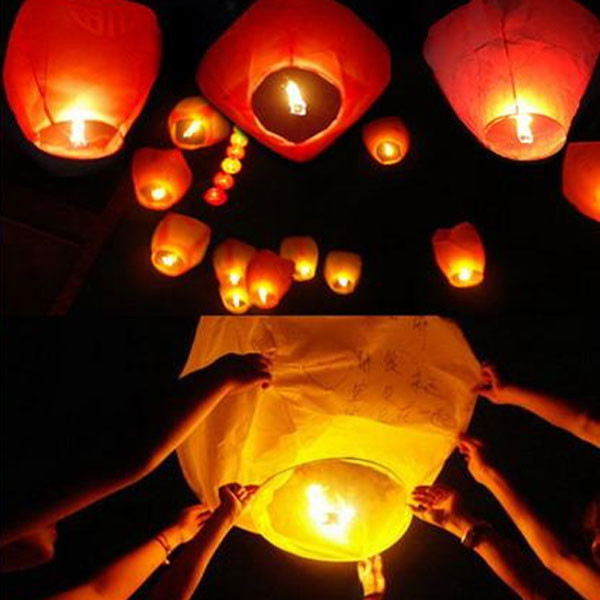 30Pieces multicolor Paper Chinese wishing lantern Many colors hot air balloon Fire Sky lantern for Birthday Wedding Party color(China (Mainland))