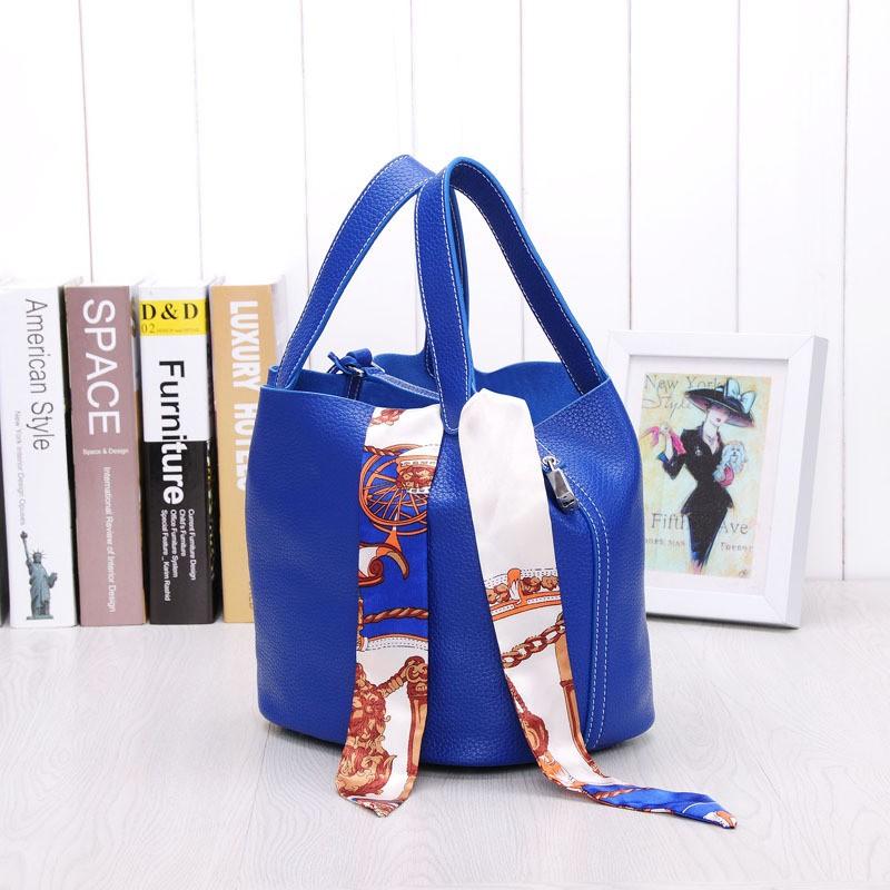 Women's handbag fashion genuine leather togo bucket shoulder bag women messenger basket bag