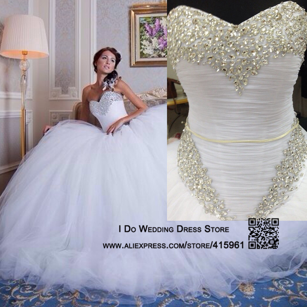 ... Puffy Ball Gown Crystal Bridal Dress Corset Back Sweep Train W3512