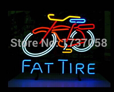 FAT TIRE bicycle neon sign store display beer bar sign Real Neon Neon Light Sign Beerbar Sign Free Shipping! REAL GLASS(China (Mainland))