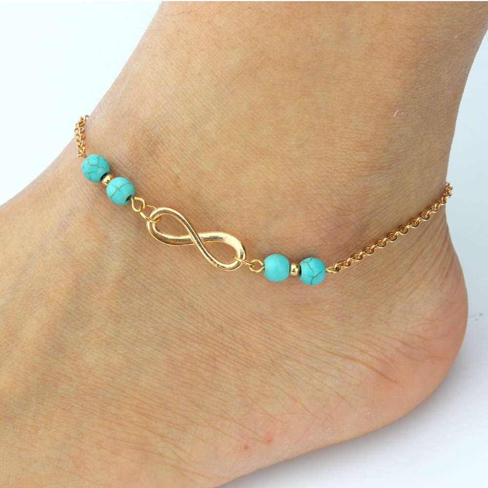 New Ankle Bracelet Summer Style Turquoise Beads Chain On Foot Anklet Jewelry Bracelet On A Leg(China (Mainland))