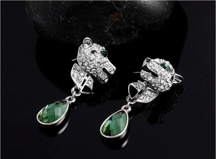 Europe Style Teardrop of Wild Leopard Emerald Green Austria Crystal Stud Earrings For Women Rock Hiphop High-end Jewelry EEH0109