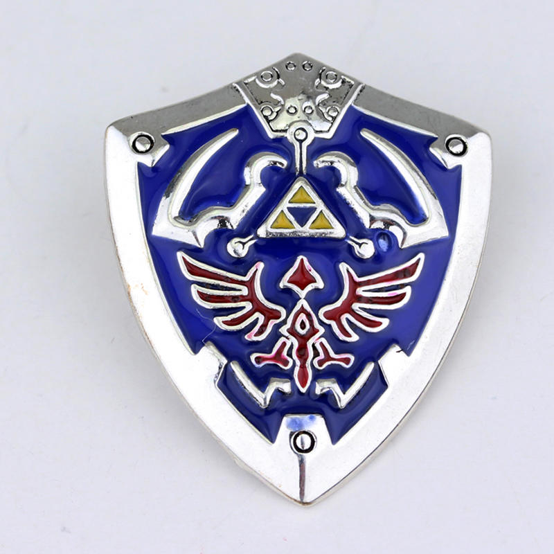 Hot Game The Legend of Zelda Shield Brooch Metal High Quality Environmental Jewelry Best Gift Gold Silver Plated Zelda Brooch(China (Mainland))