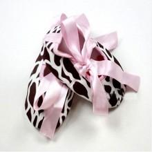 Infant Baby Toddler Girl Dot Damask Zebra Leopard Print Silk Ribbon Shoes(China (Mainland))