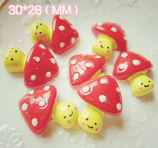 Free shipping 20pcs resin paint Handmade accessories for DIY Life decoration mushroom (CH023)()