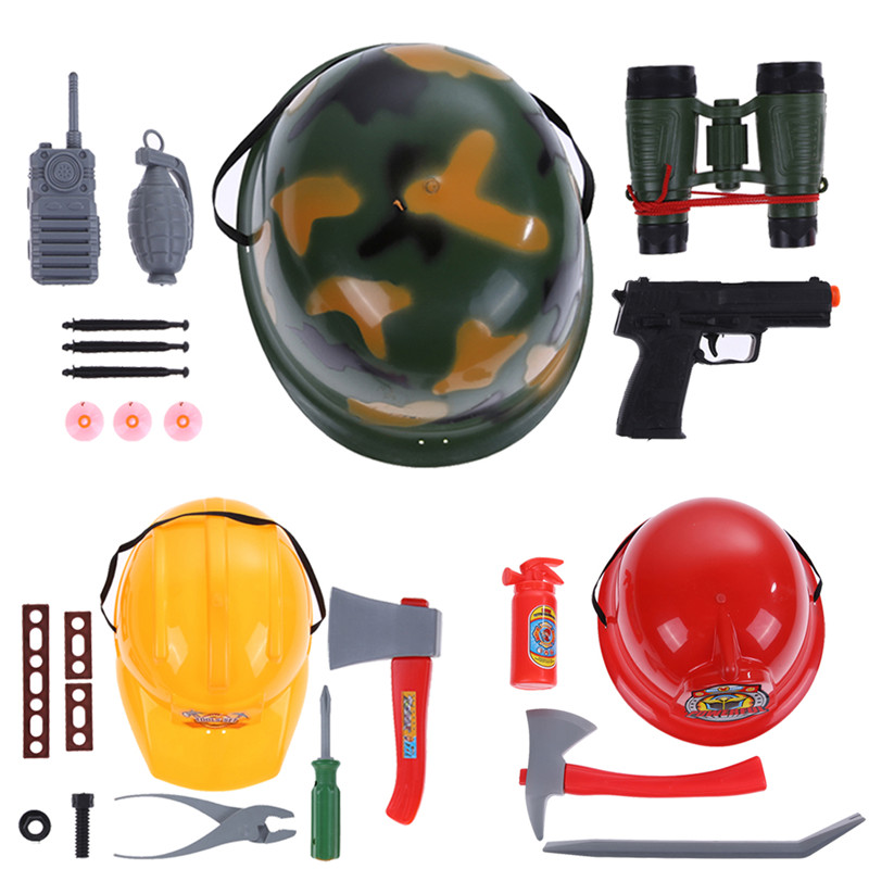 Kids Military Fireman Pretending Toys Hat Tools Role Playing Toy for Kids Baby Fireman Rescue Toy for children(China (Mainland))