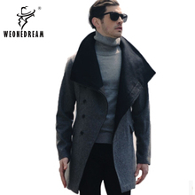 Wholesale Winter Mens Long Woolen Trench Coat Male Hooded Jacket Coat Korean Style For Men Warm Dress Overcoat Plus Size S- XXXL(China (Mainland))
