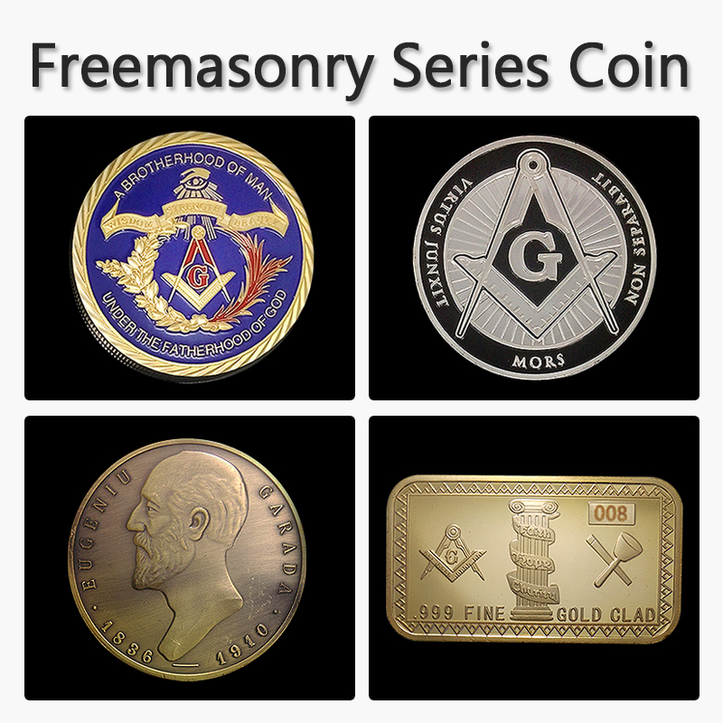 4pcs/lot Masonic series 4 different creative small metal ornament/craft Masonic symbols designs Masonic Freemasonry coin/bar(China (Mainland))