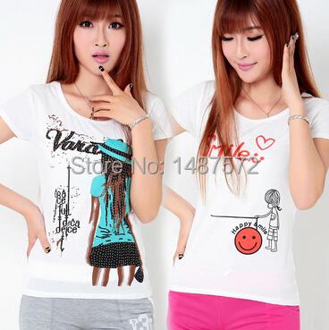 2015 Hot Sale Summer Style Women Cotton T Shirt Tops Short Sleeve Casual T-shirts FA043(China (Mainland))