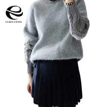 2016 New Autumn Winter Loose Long Twisted Sleeve Half High Collar Rabbit Sweaters Thicken Knit Pullovers Base Blusas Vestidos(China (Mainland))
