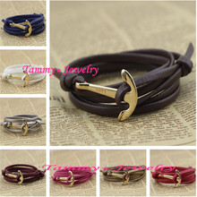 MYLB0210 Fashion Jewelry Summer Style 12 Colors Gold Anchor Women Bracelets Men Bangles Men Accessories Christmas Free Shipping