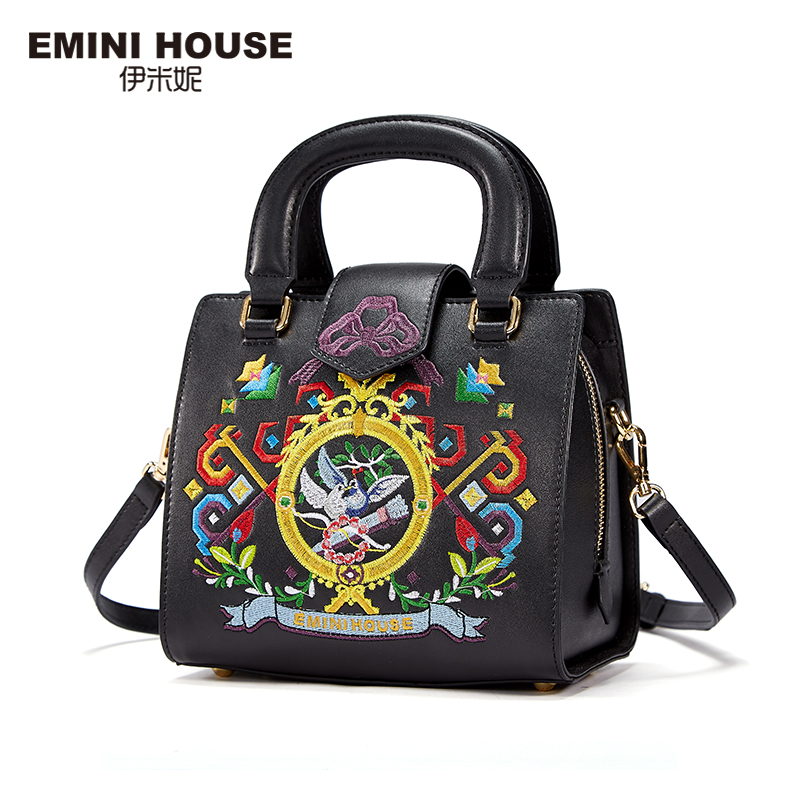 EMINI HOUSE Classic Embroidery Handbags Genuine Leather Women Shoulder Bag Fashion Women Messenger Bags Crossbody Bags For Women(China (Mainland))