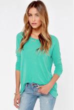 2015 Summer New Fashion Women Blouses & Shirts O-Neck Long Sleeve Cotton Blend Shirt Zipper Sky Blue Casual Shirt Plus Size 2XL(China (Mainland))