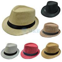 Unisex Women Men Casual Trendy Beach Sun Straw Panama Jazz Hat Cowboy Fedora Gangster Cap