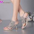 Summer New Sandals Chunky Heel Floral Silver Wedding Dress Shoes Rhinestone Luxurious Genuine Leather Prom Party