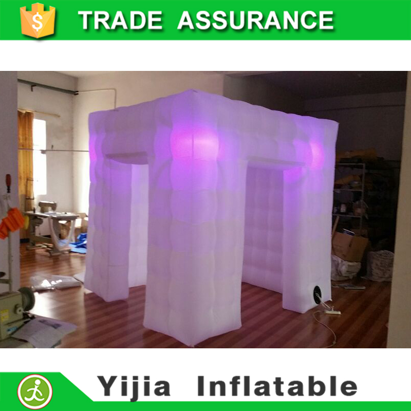 DHL free ship 7.8ft with 8 bulbs white cube digital photo booth(China (Mainland))