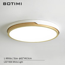 BOTIMI 220V LED White Round Ceiling Lights Nordic Style Surface Mounted Bedroom Lamp Living Room Wooden Kitchen Lighting Fixture(China)