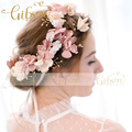 Free Shipping Korean Flowers Hawaiian Halo Crown With Freshwater Pearls Wedding Hair Vine Bridal headpiece by