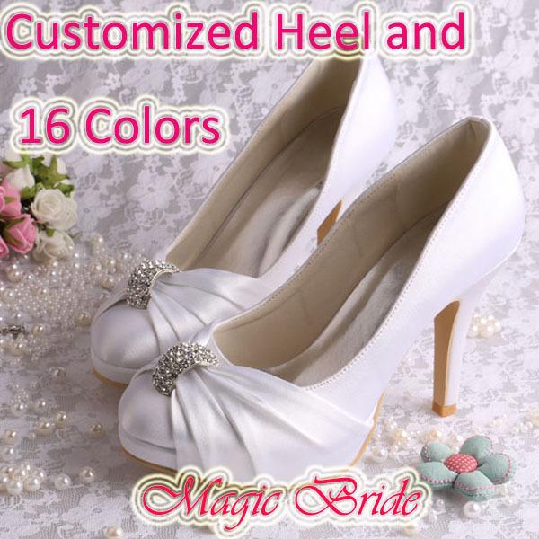 (16 Colors) Custom Handmade Platform Wedding Shoes White for Lady Closed Toe Satin Pumps Dropship(China (Mainland))