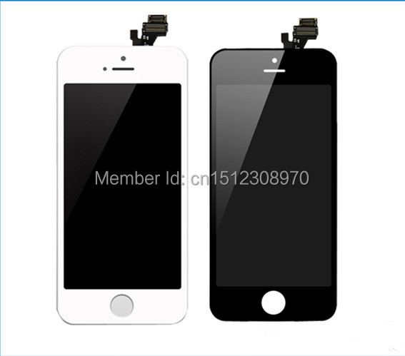 100% all tested one by one LCD assembly screen replacement display touch screen Digitizer for iphone 5 5G White/Black(China (Mainland))