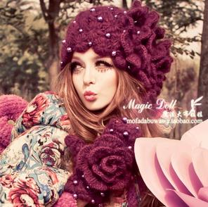 New winter's mori girl female flowers purple pearl berea aristocratic ladies knitting wool hat gs0007(China (Mainland))