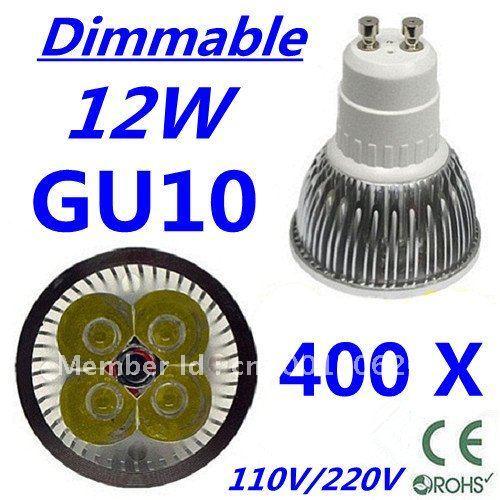 400pcs Dimmable LED High power GU10 4x3W 12W led Light led Lamp led Downlight led bulb spotlight FREE FEDEX and DHL