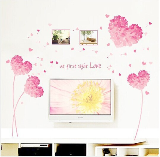 Wedding Bedroom Wall Decoration : At first sight love pink warm living room bedroom wall
