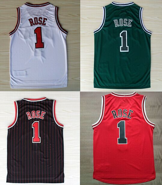 Cheap Hot sale #1 Derrick Rose Jersey, New Material Embroidery Stitched Derrick Rose Basketball Jerseys in black red white green(China (Mainland))