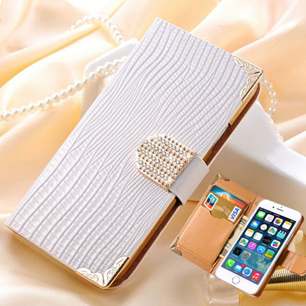 "Luxury Wallet Crystal Bling PU Leather Case For iPhone 6 4.7"" Rhinestone Phone Cover Case with Card Slot Gold Back Shell Capa(China (Mainland))"