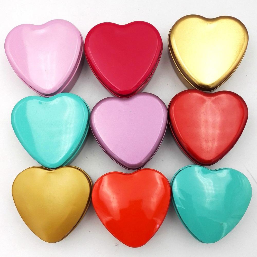 8colors Mini Candy Box Heart Shape Tea Sugar Coffee Storage Tin Box Wedding Birthday Party Valentine's Day Packing supplies(China (Mainland))