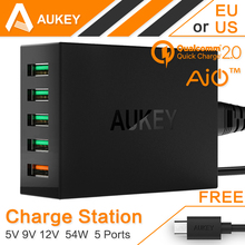 AUKEY Quick Charge 2.0 54W 5 Port Micro USB Desktop Mobile Charger QC2.0 Wall Charging EU US Plug for iPhone Samsung S6 SONY HTC(China (Mainland))