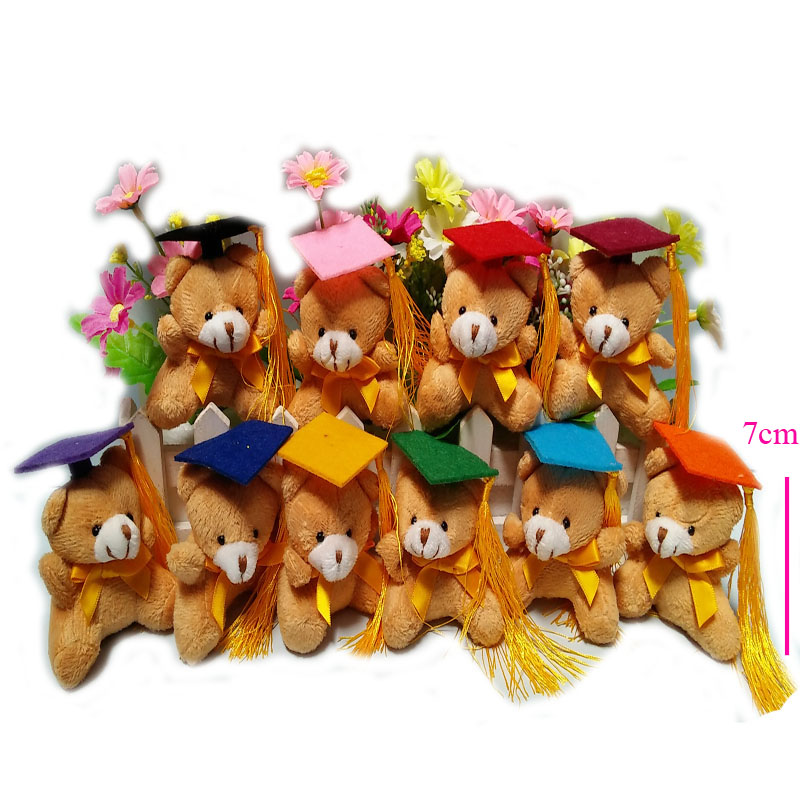 20 pcs/lot, 7cm Super Cute graduation bear with keychain Plush Toys, stuffed toys, soft graduation bear,10 colors cap to choose(China (Mainland))