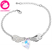 "Free Shipping!!! Women's 18K White Gold Plated Multicolor ""Love of Angel"" Crystal Bracelet Made With Swarovski Elements (5373)(China (Mainland))"