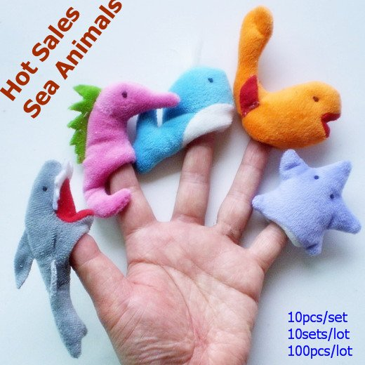 100pcs per lot/Freeshopping Wholesales Marine Animals /plush toys/Finger Puppets/hand puppets(China (Mainland))