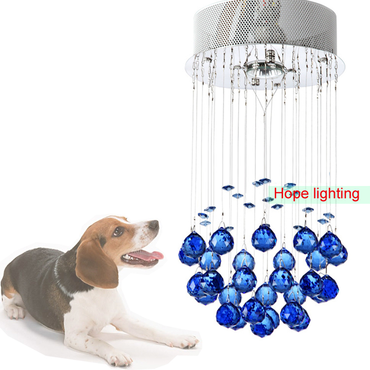 modern crystal pendant lamps contemporary pendant lighting yellow color crystal lamp blue crystal hanging lights(China (Mainland))