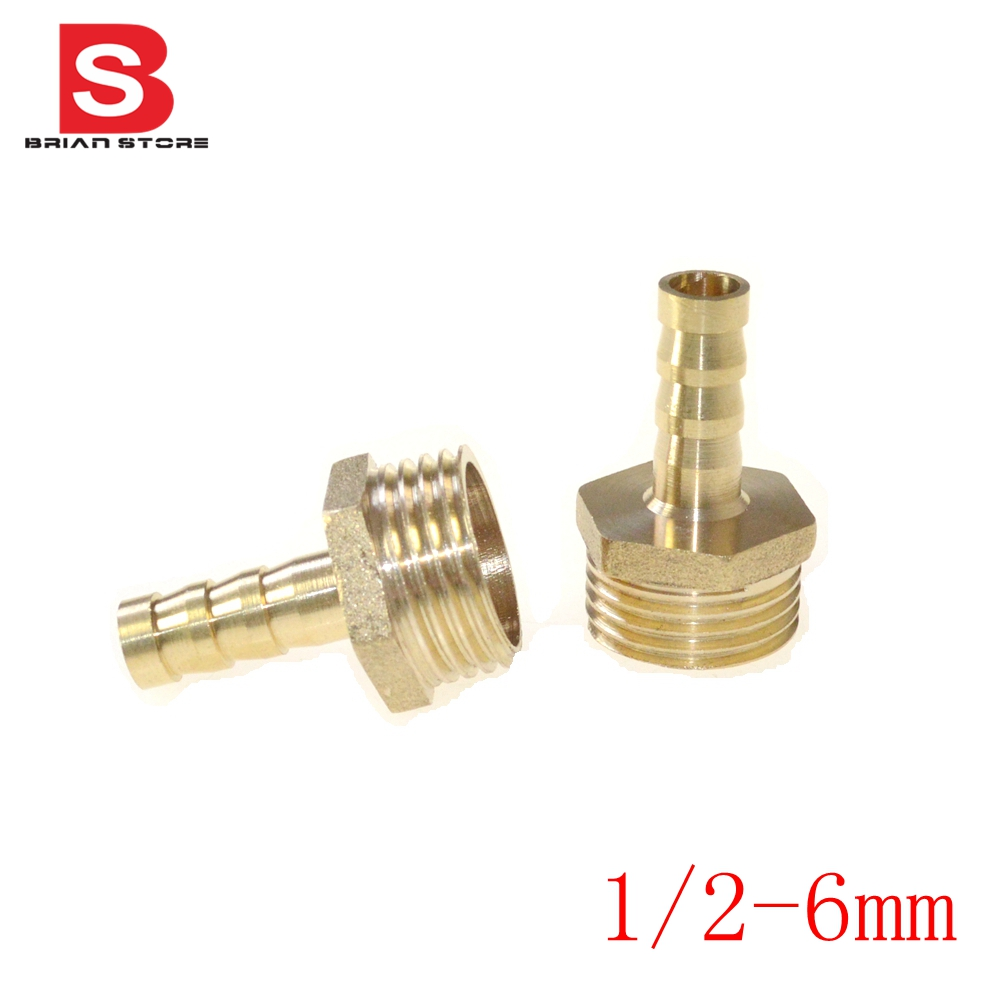 "Pieces 6mm Hose Barb x 1/2"" inch Male BSP Length 38mm Brass Barbed"