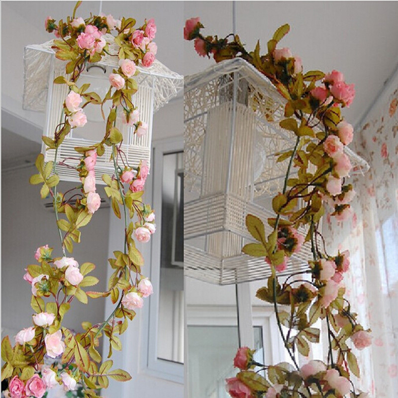 Wedding decoration artificial fake silk rose flower vine for Artificial flowers decoration for home
