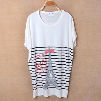 2013 summer women's stripe tower loose batwing o-neck short-sleeve cotton T-shirt plus size free shipping LJ294
