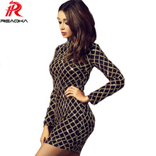Buy Autumn Winter 2017 Black Dress Sexy Bodycon Long Sleeve Sheath Gold Pattern Mesh High Neck Dresses Party Wear Dresses Nightclub for $19.56 in AliExpress store